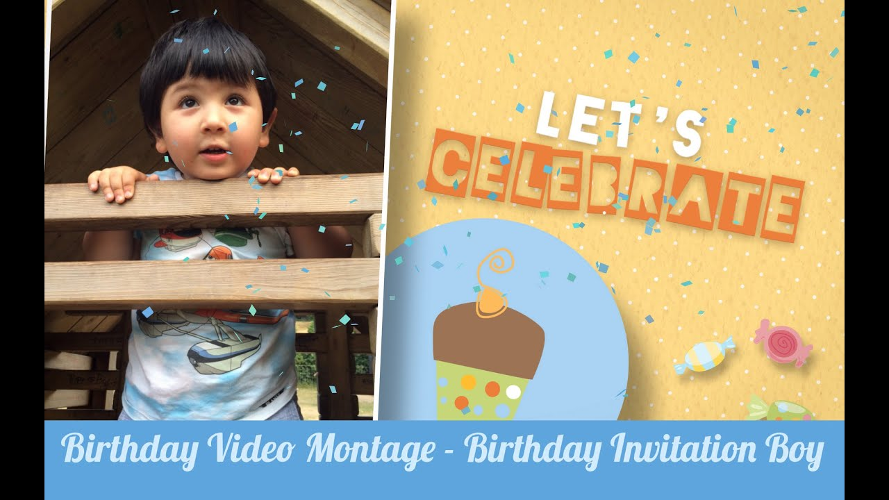 Baby Video Montage Boy - Birthday Video Invitation - 1st birthday ...