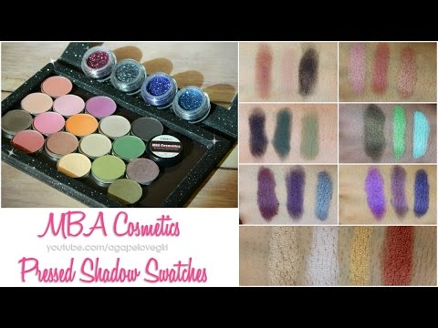 MBA Cosmetics Pressed Shadow Swatches