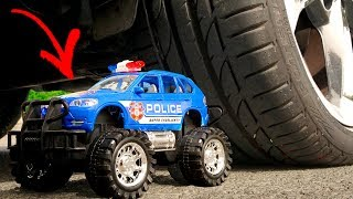 Crushing Crunchy & Soft Things by Car! - EXPERIMENT: POLICE CARS TOYS VS CAR