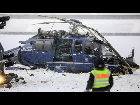Berlin police helicopter collision caught on film