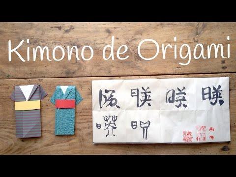 Kimono de papel hecho con origami