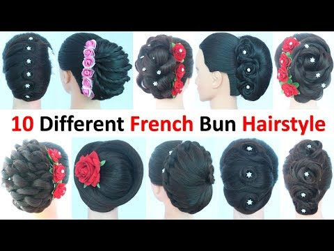 10-different-french-bun-hairstyle-||-easy-hairstyles-||-french-roll-||-simple-hairstyle-||-hairstyle