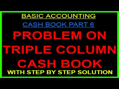 PROBLEM ON TRIPLE COLUMN CASH BOOK [HINDI]