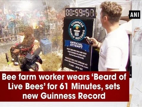 Bee farm worker wears 'Beard of Live Bees' for 61 Minutes, sets new Guinness Record