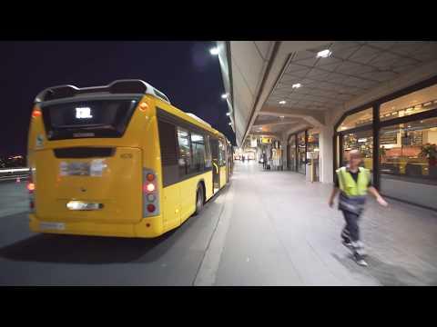Germany, Berlin, Bus TXL Night Ride From Tegel Airport To Beusselstraße
