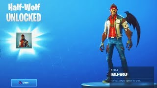 "HALF-WOLF ""DIRE"" Stage 2 SKIN Unlocked (Fortnite Season 6 TIER 100 Customized Skin)"