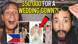 UNBELIEVABLY EXPENSIVE FILIPINO Wedding GOWNS! (TOP 5 Philippines Reaction!)