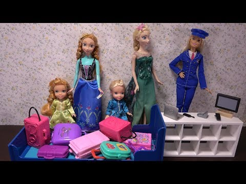 Elsa and Anna toddlers airport and plane trouble!! Barbie flight attendant