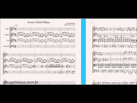 Sweet Child O' Mine Guns N' Roses - Free Sheet Music for Violin and String Quartet - Piano Chords