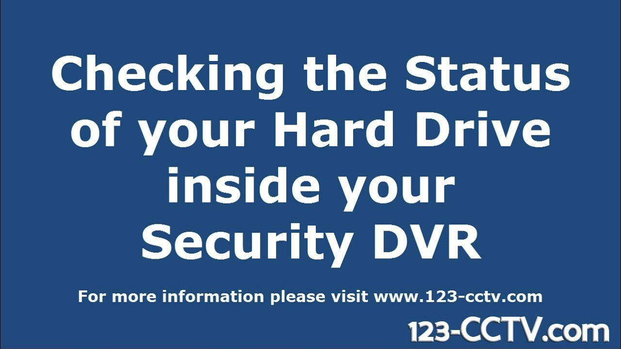 Diagnose and fix DVR Hard Drive errors