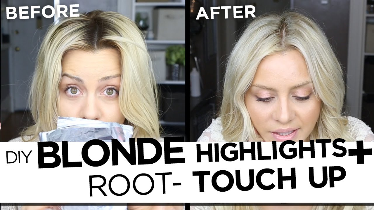 Diy blonde highlights and root touch up tutorial my updated hair diy blonde highlights and root touch up tutorial my updated hair routine youtube solutioingenieria Images