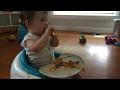 1 year old eating Spaghetti