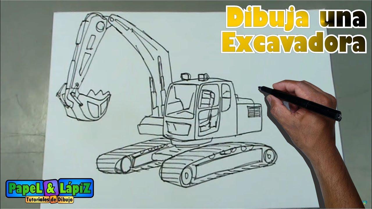 Cómo Dibujar Paso A Paso Una Maquina Excavadora