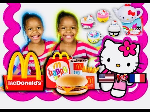 FRENCH vs AMERICAN: MCDONALD'S HAPPY MEAL UNBOXING - Surprise toy , Hello Kitty, cheeseburger
