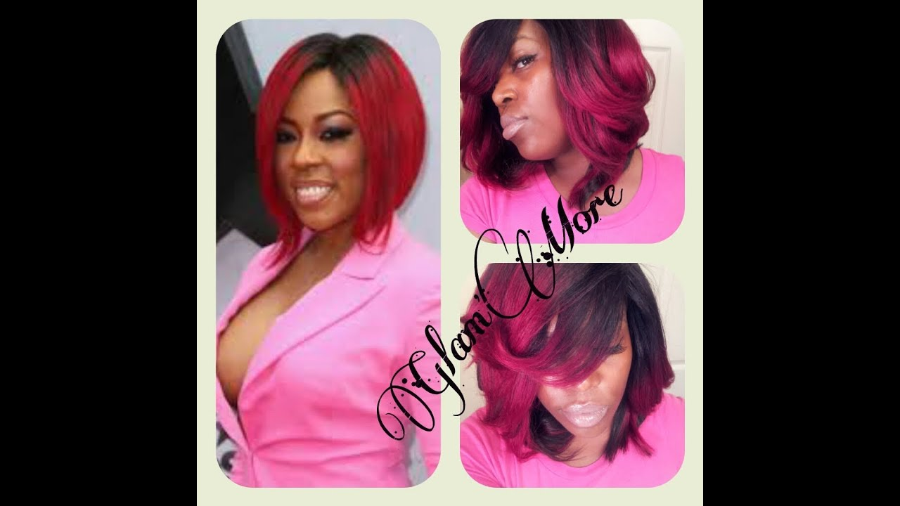 k. michelle inspired (red ombre) quickweave - youtube