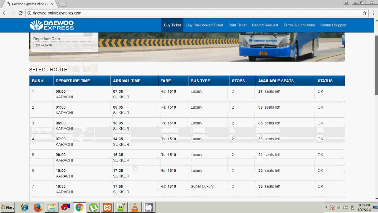 How to book online ticket of DAEWOO Bus Service in stan? (Urdu ...
