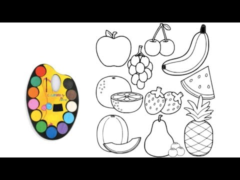 10 Fruit Coloring Pages | Fruits Drawing And Coloring Pages For Kid | Coloring Videos For Kids