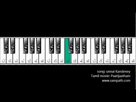 Basic Piano Tutorial for Unnai Kandeney from Paarijatham