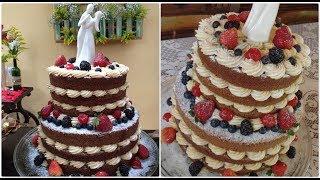 Bolo de casamento Naked Cake de Andar - Brigadeiro e Frutas vermelhas