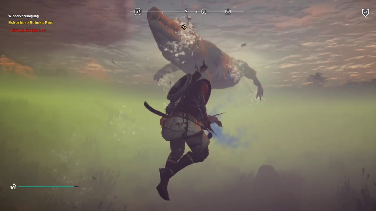 Assassins Creed Origins Swim With Crocodile Gameplay Xbox One