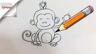 สอนวาดการ์ตูน สอนวาดภาพ ลิง ง่าย แต่น่ารัก