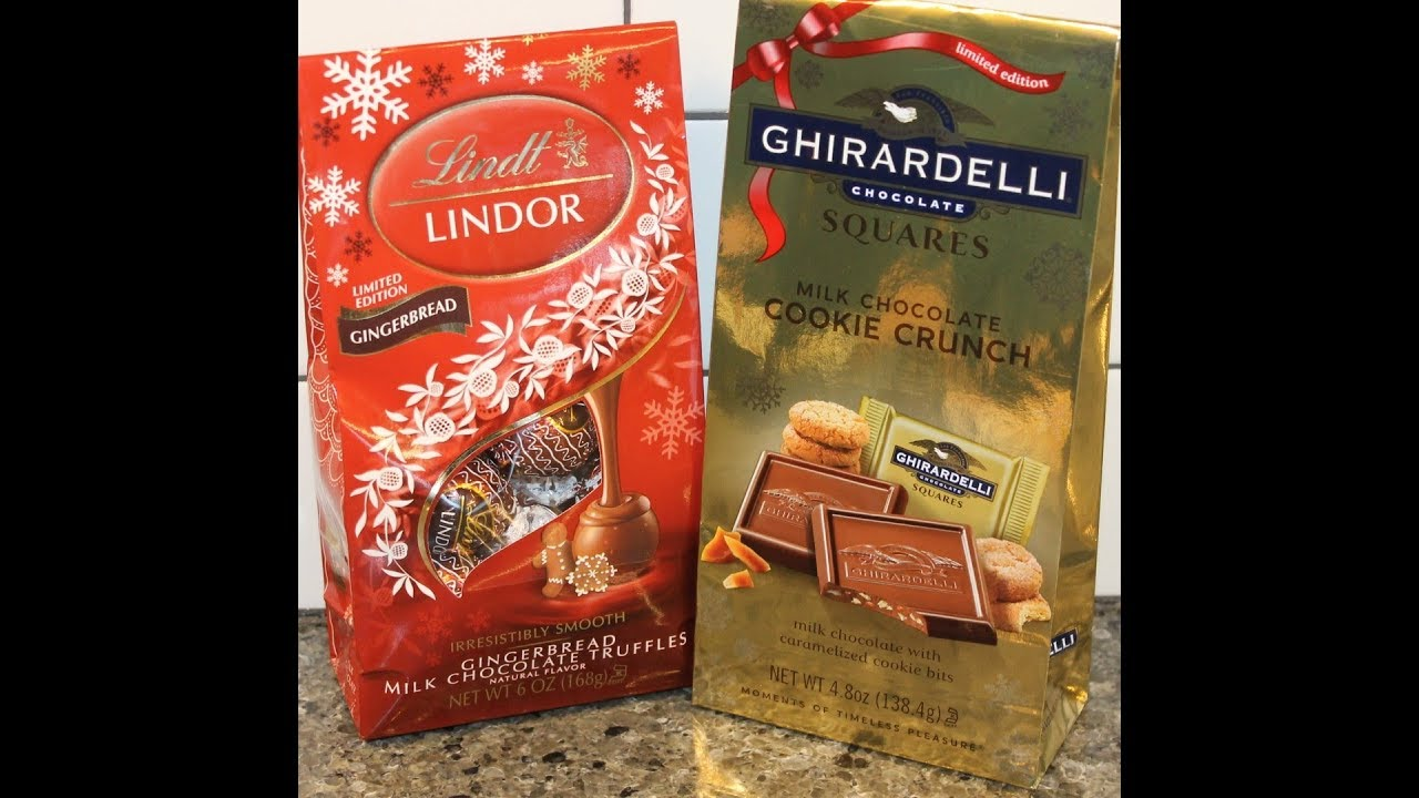 Lindt Lindor Gingerbread Milk Chocolate Truffles Ghirardelli Milk Chocolate Cookie Crunch Squares