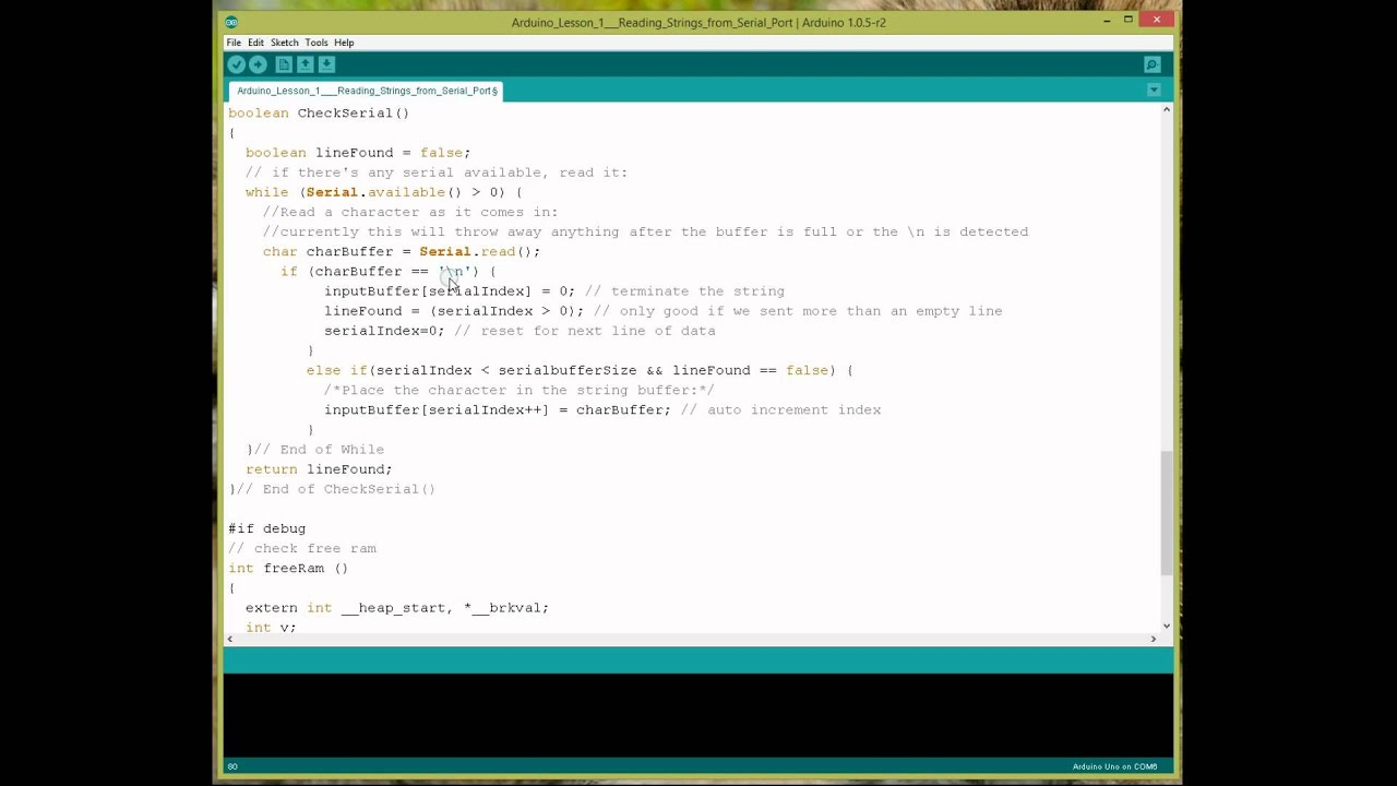 Arduino Lesson 1 Reading the serial port