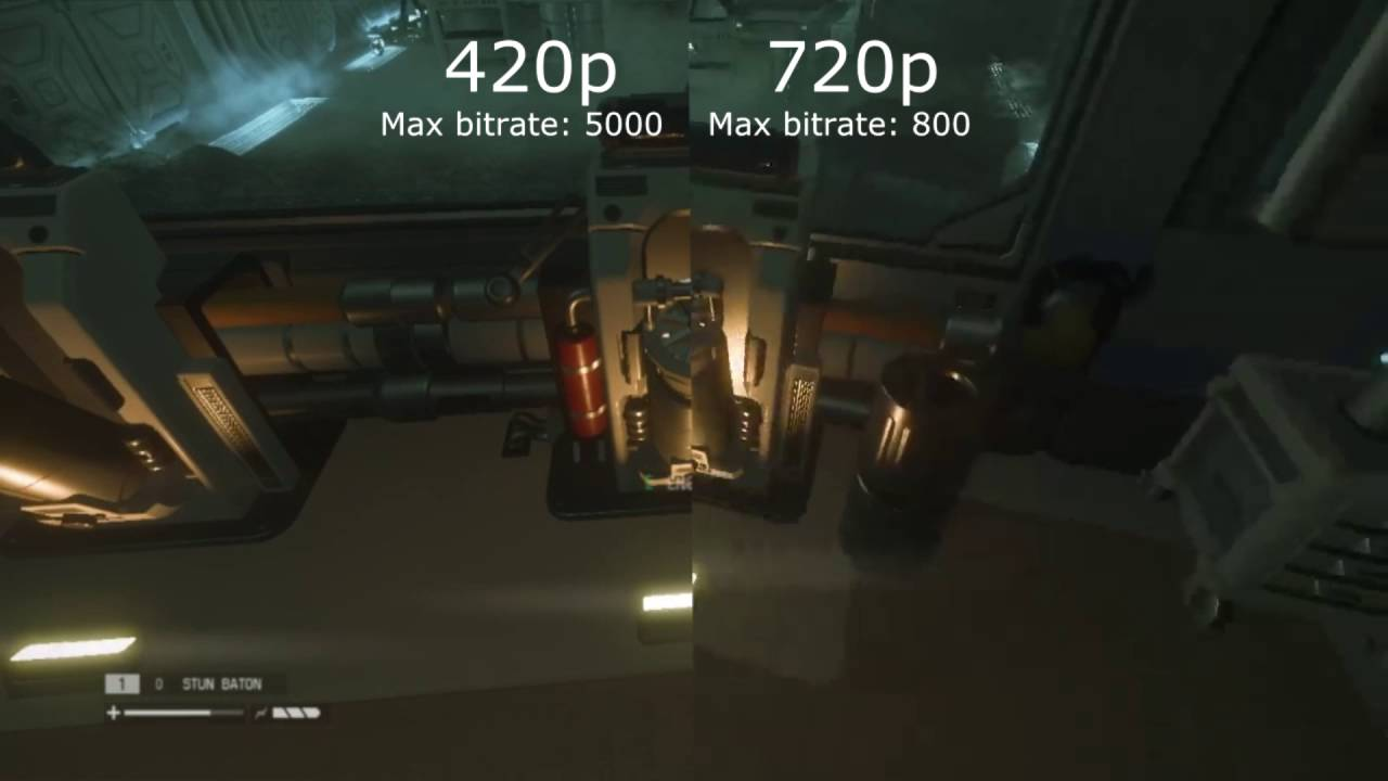 Alien Isolation - 480p VS 720p with max bitrates