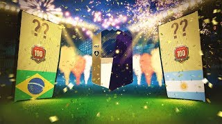 Top 100 in the world squad battle reward packs!!! fifa 18 squad battle packs!!