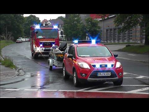 [22 Minuten Einsatzfahrten] Deutsche Feuerwehren im Hochwassereinsatz Dresden 2013 (HD)