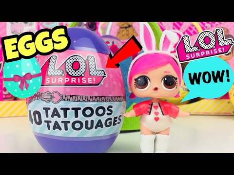 opening-lol-surprise-eggs-with-40-tattoos-|-l.o.l-merchandise-|-party-supplies!!-series-1-dolls