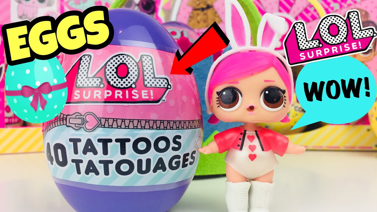 Opening Lol Surprise Eggs With 40 Tattoos Lol Merchandise