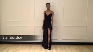 Rivus - İnce Askılı Anvelop Kesim Önden Yırtmaçlı Uzun Abiye Elbise Siyah