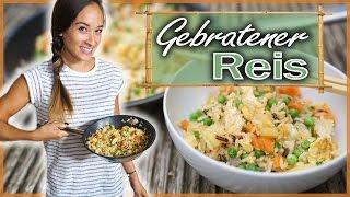 Gebratener Reis mit Gemüse - Fried rice - Gesundes asiatisches Gericht - Nur 12 Minuten & unter 5€