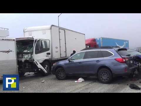 Las imágenes del accidente masivo que involucró a unos 30 vehículos en California