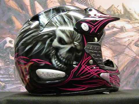 Kustom Demo Pinstriping And Gold Leaf Moto X Helmet