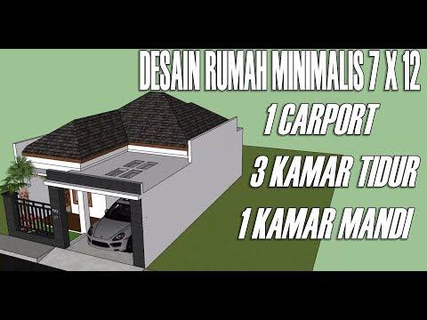 Desain Rumah Minimalis Ukuran 7x12 Meter  desain rumah minimalis 1 lantai 3 kamar tidur 7 x 12