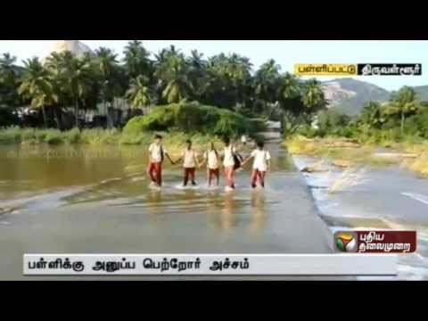 Kosasthalaiyar River flood: Students struggle to reach school