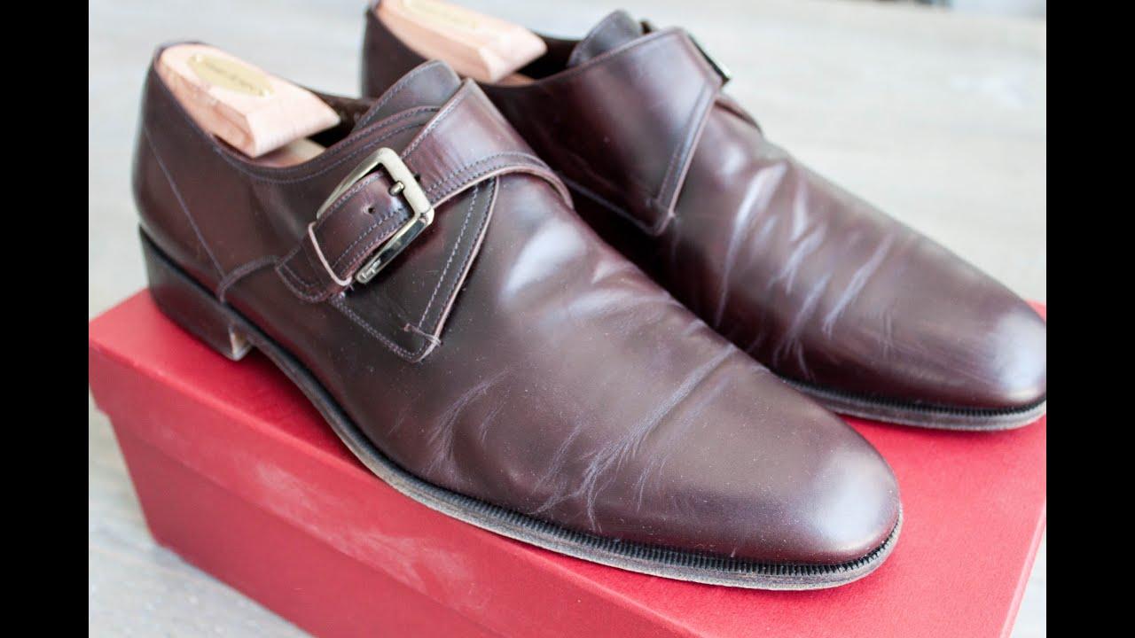 2597de0feee1cc Ferragamo maroon single monk strap dress shoes review - YouTube