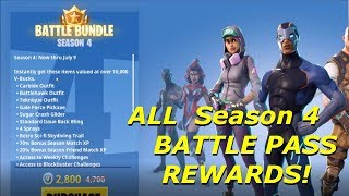 Fortnite Battle Royale - Season 4 Battle Pass Rewards Showcase!