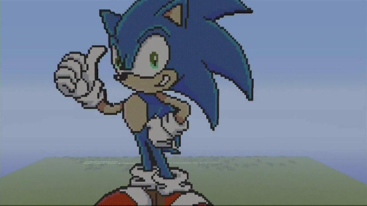 Sonic Mc Pixel Art Speed Build Sonic The Hedgehog Minecraft Pixel Art Youtube
