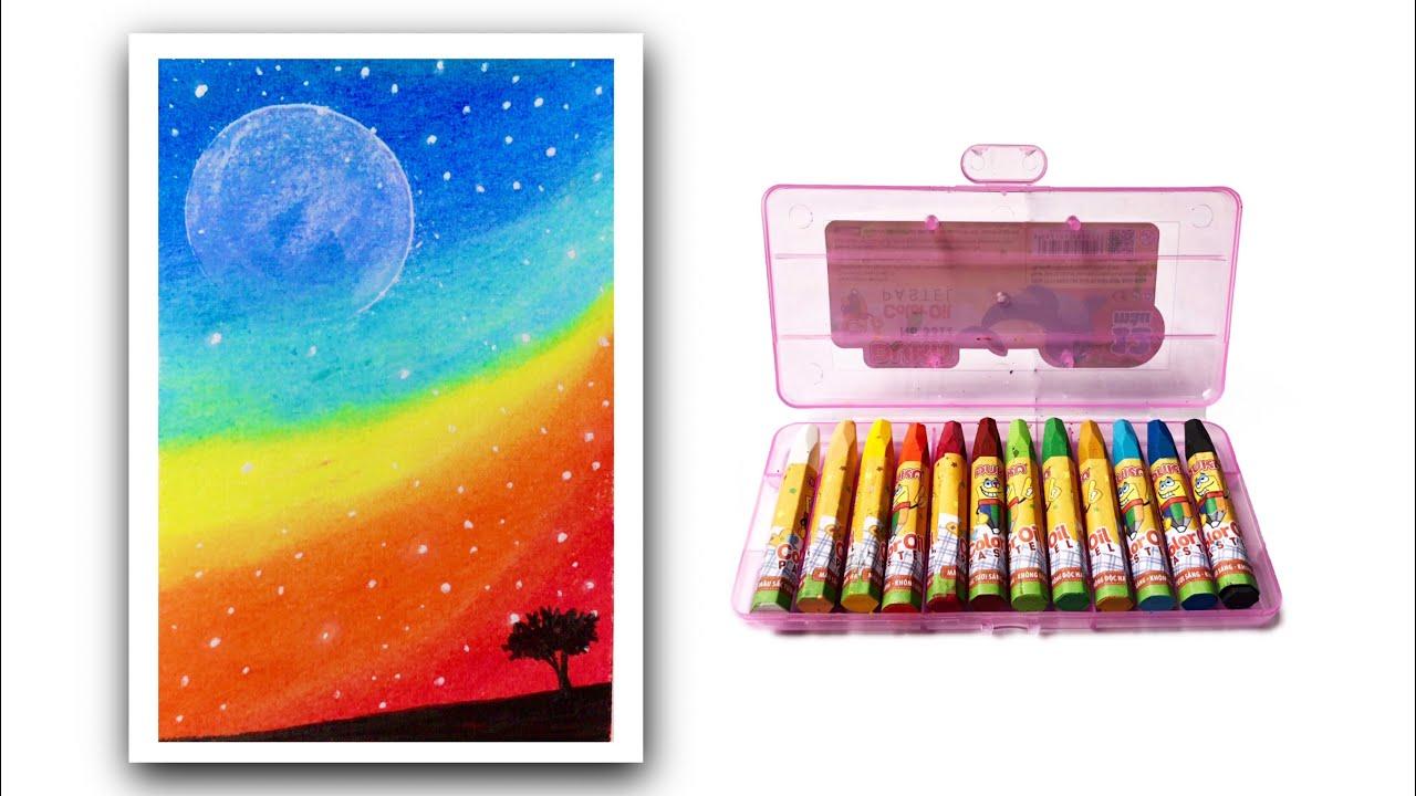 Cách Vẽ Tranh Phong Cảnh Bầu Trời Galaxy Bằng Màu Sáp Dầu | how to draw simple scenery