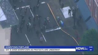 LIVE: SKY 8 above downtown Portland protests