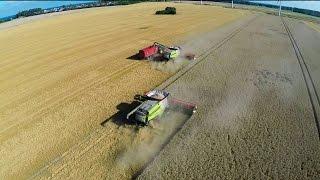Harvest 2014 - big farming in Germany 4x Lexion 780, 10 JD tractors, 3 Horsch seeders