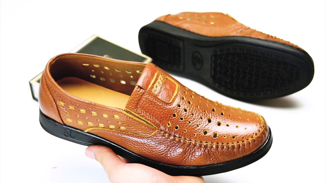 giày lười giày rọ giày hè nam da bò đục lỗ cao cấp