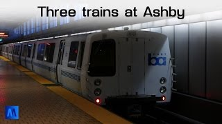 BART: Three trains at Ashby