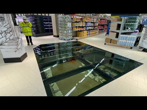 A Glass Floor in a Dublin Grocery Store Lets Shoppers Look Down & Explore Medieval Ruins