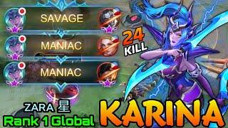 This is Insane!! SAVAGE & MANIAC Karina 24 Kills!! - Top 1 Global Karina by ᴢᴀʀᴀ 星 - MLBB