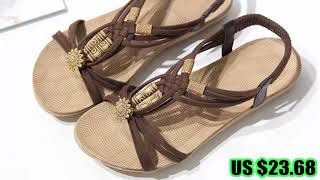 32850001516 Sandals Women Female Lady Girl Retro Casual Slip On Gladiator PU Rubber String.mp4