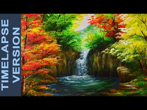 water-falls-in-autumn-forest---acrylic-painting-tutorial-timelapse-version